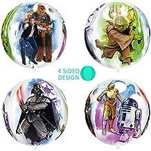 """New 16""""Star Wars gran Orb bola globo Fiesta Regalo Idea de cuatro caras diseños icónicos personajes clásicos Darth Vader Han Solo Chewbacca Star Wars C-3PO R2-D2"""