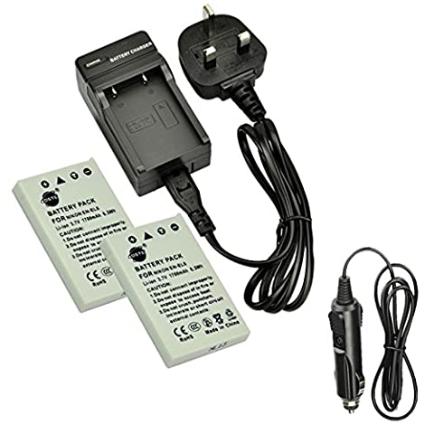 DSTE® 2x EN-EL5 Rechargeable Li-ion Battery + DC12U Travel and Car Charger Adapter for Nikon Coolpix P510 P520 P530 P5100 P6000 S10 P3 P4 P80 P90 P100 P500 Digital Camera