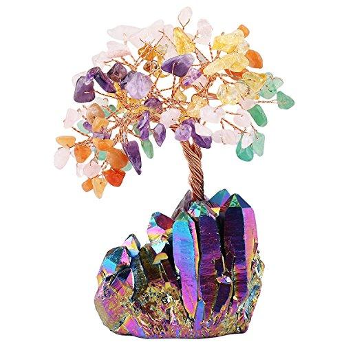 Mookaitedecor tumbled stones & cluster base healing crystal money tree, gemma feng shui albero della vita buona fortuna ricchezza decorazione