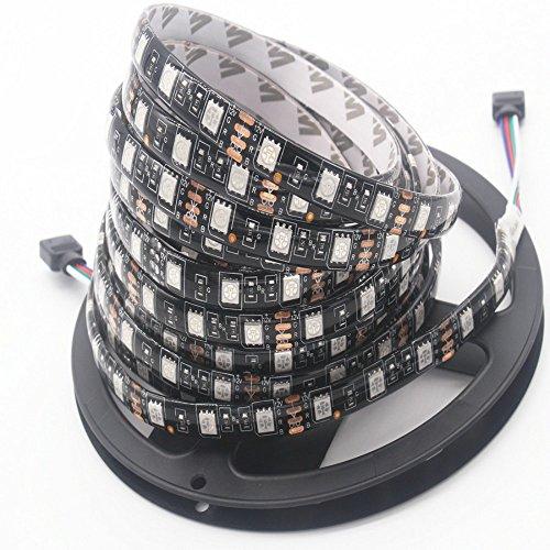 Strisce a led rgb, 5m 60leds/m dc 12v smd 5050 black pcb luci a nastro decorative, tv illuminazione di fondo, luce a nastro, illuminazione a corda, lampada da interno luminosa per interni (non contiene l'alimentatore) (impermeabile)