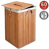 Tatkraft Pallas Bambus Wäschekorb Quadratisch mit textilen Innensack 60X35X50H cm