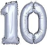 DekoRex Folienballon Zahlenballon Heliumballon Luftballon Geburtstag Deko 100cm Zahl Silber 10