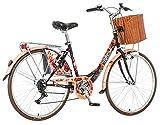 breluxx 26 Zoll Damenfahrrad Venera Fashion Secret Bulka Citybike Korb + Licht Retro Damenrad, 6 Gang Shimano