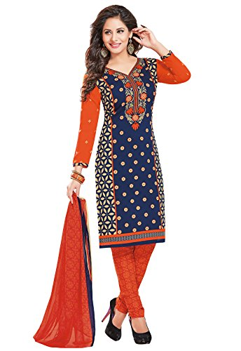 Ishin Synthetic Blue & Orange Party Wear Wedding Wear Casual Daily Wear Festive Wear Bollywood New Collection Printed Latest Design Trendy Unstitched Salwar Suit Dress Material (Anarkali/Patiyala) Wit