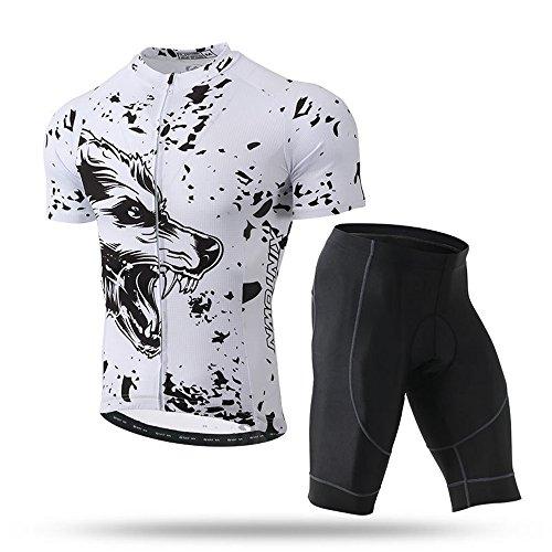 Pinjeer White Wolf Jugend Wild Style Sommer Sport Kleider, Atmungsaktive Fahrradbekleidung Anzüge für Männer,Outdoors Jungen Jersey Shorts Prime Sets Quick Dry Kleider für Rennen Bike Riding