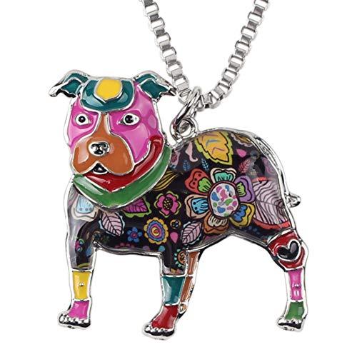 AISHIPING Statement Emaille Alloy Boston Terrier Pitbull Hund Halsketten Anhänger Halsband Kette Neuheit Tier Schmuck
