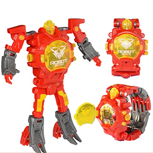 Chirde Creative Armbanduhr Elektronische Uhren Manuelle Transformation Roboter Spielzeug Kinderspielzeug (Rot)