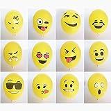 logei® 100St Emoji Luftballons verschiedene Miene Laune Ballons Luftballon Heliumballons Ballon Deko für Valentinstag, Verlobung, Hochzeit, Party in Gelb (Mienetyp nicht wählbar)
