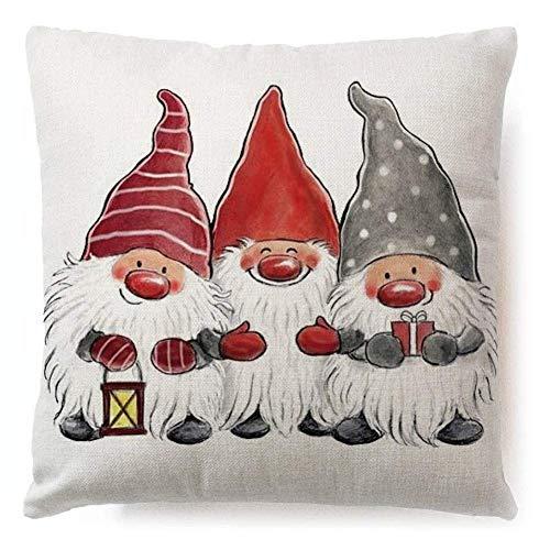 Sweet&rro17 Dekorative Kissenbezug Kissenhülle Baumwolle Leinen Sofa Fall für Weihnnachten Weihnachtsdeko, ohne Füllung 45x45cm(Zwerg)