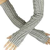 TUDUZ Unisex Winter Gestrickte Handgelenk Arm Handwärmer Strick Ärmel Hanfblumen Fingerlose Lange Handschuhe Fäustlinge für Damen Herren Weihnachten Geschenke (Grau)