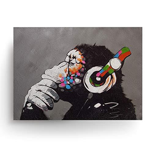 Banksy Dj AFFE Kopfhörer Kunst Graffiti Arbeit Druck - Wanddruck Schimpanse Denker Bunt - Denken Kunstwerk Poster Raum Straßendekoration Poster