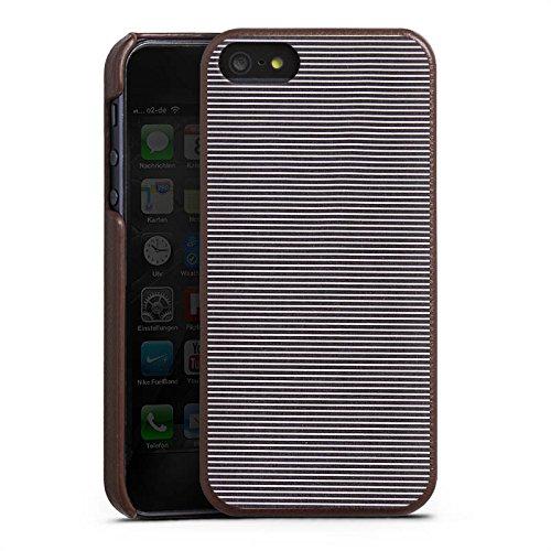 Apple iPhone 6 Lederhülle Leder Case Leder Handyhülle Muster Graue Jeans Look Streifen Leder Case braun