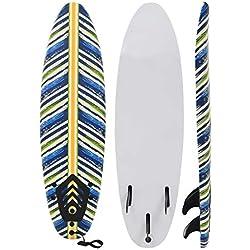 Festnight Planche de Surf avec Coussin de Traction pour Débutant Adulte 170 x 46,8 x 8 cm Design de Feuille