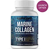 CORREXIKO Marine Collagen Supplement 2200mg, Anti-Ageing tablets (Canadian wild-caught fish, not farmed) Hyaluronic Acid, Vit C & Minerals, for Skin Hair Nails Bones & Joints - Hydrolysate, Type 1 & 3