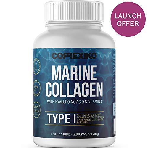 Collagene Marino con acido Ialuronico (120 Capsule), Vitamina C e Minerali