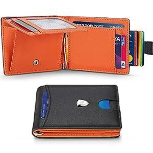 Portafoglio Uomo Piccolo Sottile RFID Blocking Primo Strato Pelle con Tirare Tasca,Fermasoldi,Tasca per Monete,11 Carta… 3 spesavip