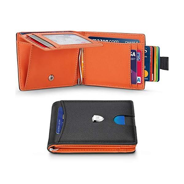 Portafoglio Uomo Piccolo Sottile RFID Blocking Primo Strato Pelle con Tirare Tasca,Fermasoldi,Tasca per Monete,11 Carta… 1 spesavip
