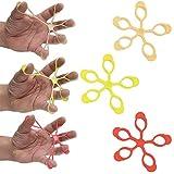 AFH Finger Expander | Hand Exerciser | 3er Pack | ultra-leicht (beige), leicht (gelb) und mittel (rot)