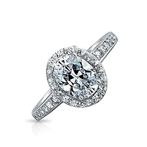 Bling Jewelry Vintage-Stil 2 Ct Oval Solitär Halo AAA Cz 925 Sterling Silber Versprechen Verlobungsring Für Damen Dünne Band Ebnen - 2ct Ring Engagement Cz
