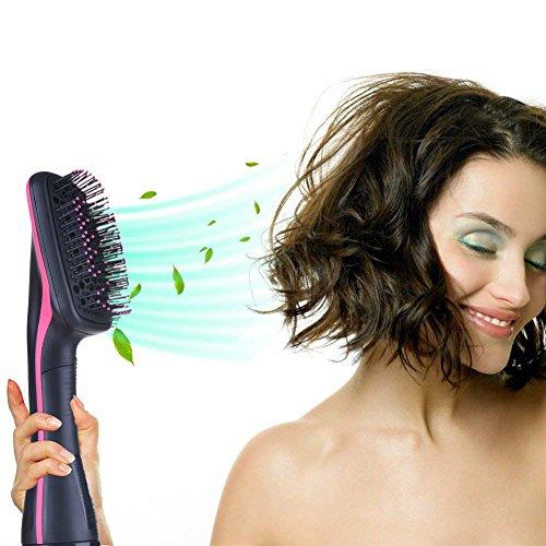 Secador de pelo liso Ionic Hair Straight Brush V-joy 2 en 1 multifuncional secador de pelo mojado y seco de doble uso, cepillo de pelo eléctrico alisador de vello Anion Ion secador de pelo 1000 W