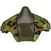 Máscara plegable protectora de media cara inferior de malla de acero, ideal para paintball y actividades al aire libre, AOR2