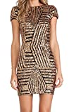 Yidarton Damen Paillettenkleid Langarm Rundhals Backless Partykleid Ballkleid Abend Minikleid (Short Sleeve- Gold, Large)