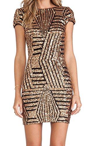 Yidarton Damen Paillettenkleid Langarm Rundhals Backless Partykleid Ballkleid Abend Minikleid (Short Sleeve- Gold, Medium)