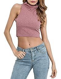 7a9127012 Freestyle Verano Mujeres Esbelto Elástico Corto Camisolas Camisetas Manera  Casual Tejer Solid Blusa Sudadera Camisas Cuello