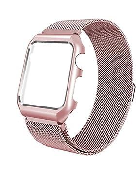 Apple Watch Armband, iBazal Apple Watch Uhrenarmband Schützend Hülle Verbessern iWatch Strap 38mm Milanese Rostfreier...