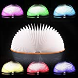 #3: Voberry Upgraded 7 Colors Book Lamp, Rechargeable Folding Book-Shaped Reading Light,Creative Night Light Beside Bed,Desk Table Living Room, Thanksgiving Christmas Birthday Gift Brown
