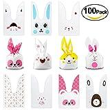 Sacchetti compleanno,[100 Pcs] Sacchetto per Caramella Confetti Borsa di Regalo Sacchetto Coniglietto di Forma del Coniglio Sacchetti di Biscotto