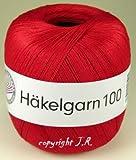 Häkelgarn 100 Gramm Baumwolle-Filet-Garn häkeln - Farbe feuer-rot_127