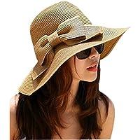 Lucky è tesa larga, con fiocchetto, Cappello da sole estivo in paglia Beach-Cappello con visiera da donna marrone