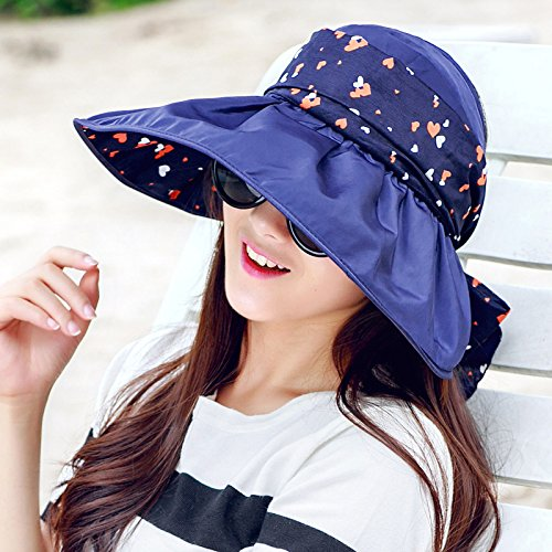 Cap soleil d'enfants cor¨¦ens chapeaux UV ext¨¦rieur pare-soleil plage pliage compact grand lanai le long de la PAC - l'amour du bleu marine 1