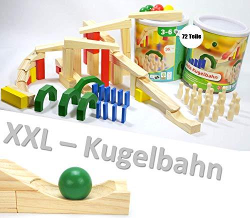 classic Holzspielzeug XXL Holz KUGELBAHN 72 Teile Maxi Bausatz Meine erste Murmelbahn Bahnen Bausteine Rampe ~yx 36 2X 1675 +