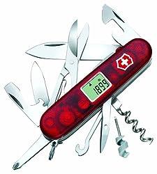 Victorinox Taschenmesser Traveller Lite (30 Funktionen, Klinge, Digitalanzeige, LED) rot transparent