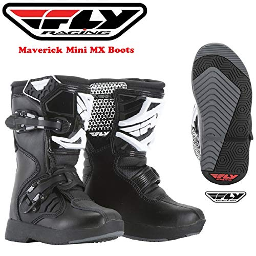 Stivali Motocross per Bambini Fly Maverick Junior Stivali Moto Bambino Quad off-Road Enduro Kart Pit Dirt Bike MX Sports Racing Stivale, Nero (Nero,UK 11 - US 12)