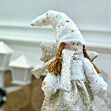 Valery Madelyn Standing Fabric Christmas Angel Decoration Braided Girl Wool Xmas Gift Xmas Gift Golden & White 15.5Inch Height Christmas Ornament Shining And No Faded