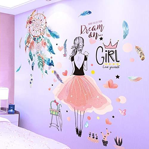 Stickerz [SHIJUEHEZI] Cartoon Chica Pegatinas de Pared vinilos Adhesivos murales Plumas Atrapasueños Bricolaje para Niños Habitaciones Dormitorio del bebé en la decoración del hogar