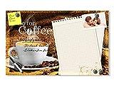 GRAZDesign 501648_60x40_GL_MT Glas-Magnettafel für Küche | Memo-Board beschreibbar Time for Coffee Notiz - Zettel - Optik mit Kaffee - Tasse | Magnetwand für Notizen (60x40cm)