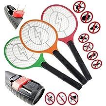 1 Elektrische Fliegenklatsche mit AKKU extra STARK / Aufladbarer elektronischer Insektenvernichter Fliegenfänger erzeugt eine elektrische Spannung im Metallgitter (Gelb) STAR-LINE®