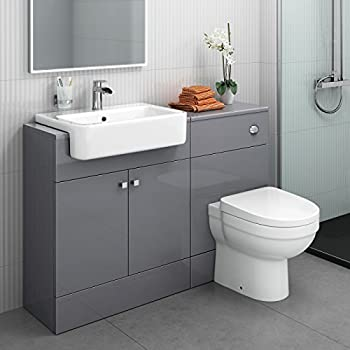 Charmant 1160 Mm Modern Gloss Grey Bathroom Door Vanity Unit Basin Sink + Toilet  Furniture Set