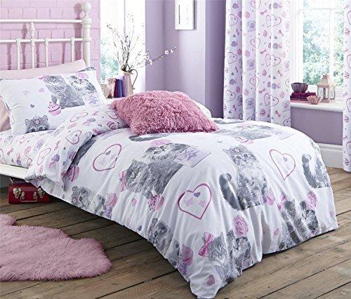 Rosa viola gatti gioielli singolo misto cotone piumone trapunta copertura