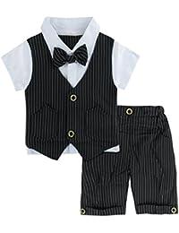 A&J Design Bebé Niño Gentilhombre Raya con Corbata de moño Formal Traje Conjunto