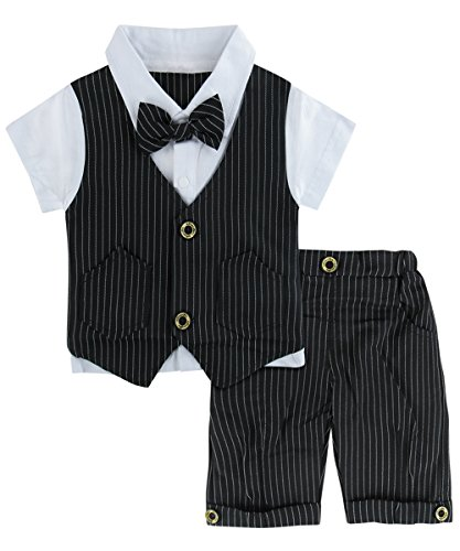 A&J Design Baby Junge Anzug 2 tlg Gentleman Streifen Kleidung Kurzen Ärmeln mit Bowtie (Schwarz, 3-4 Jahre/110) -