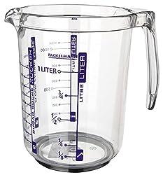 Fackelmann Profi-Messbecher, Messkanne aus Kunststoff, Messbecher mit vielfältiger Skalierung (Farbe: Transparent), Menge: 1 Stück