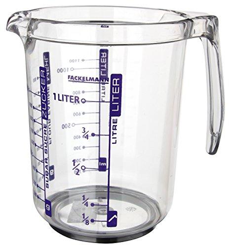 Fackelmann Jarra Medidora 1l. Plástico SAN. Transparente. 17,5x12,5x16,5cm. 1 ud.