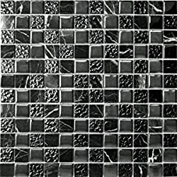 50 x BLACK MARBLE EFFECT SELF ADHESIVE STICK ON VINYL FLOOR TILES - KITCHEN BATHROOM