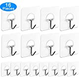 Adhesive Hooks, 16 Pack Adhesive Wall Hooks Nail Free Heavy Duty Hooks (7.2cm x 7.2cm) for Kitchen Bathroom Door Ceiling Hanger 22 Pound/10 KG by AUSTOR