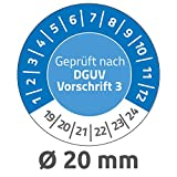 Avery Zweckform 6975 Prüfplaketten (120 Prüfaufkleber aus Vinyl, Geprüft nach DGUV Vorschrift 3, 2019-2024, Ø 20 mm, im praktischen Block) blau